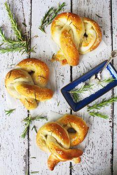 brie-stuffed soft pretzels with rosemary sea salt