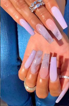 Light Purple Nails, Purple Acrylic Nails, Best Acrylic Nails, Green Nails, Blue Nails, Peach Nails, Cute Acrylic Nail Designs, Purple Nail Designs, Cow Nails