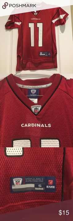 NFL Football jersey NFL Arizona Cardinals Reebok football jersey, #11 Fitzgerald, red and white (never been worn) Reebok Shirts & Tops Tees - Short Sleeve