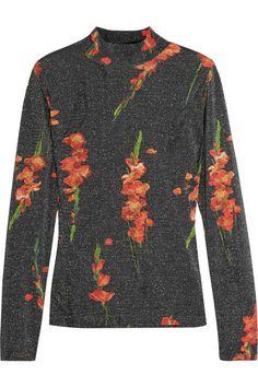 TOPSHOP UNIQUE Sidgwick floral-print jersey and Lurex top. #topshopunique #cloth #tops