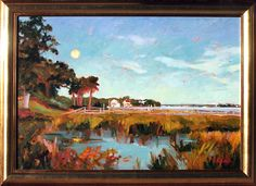 Old Village Sundown, Mount Pleasant, South Carolina. Painting by Jennifer Smith Rogers, Anglin Smith Fine Art (http://anglinsmith.com/)