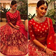 Pooja Hegde in Sailesh Singhania lehenga at a wedding event blouse designs Indian Wedding Outfits, Indian Outfits, Bridal Lehenga, Red Lehenga, Wedding Lehnga, Wedding Bride, Indian Attire, Indian Wear, Lehenga Designs