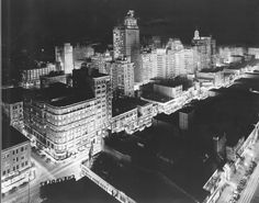 Historic Dallas | Downtown Dallas Texas 1939 Nightime Photograph