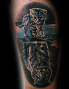 Cat Tattoo Ideas For Men - Feline Designs Cat Reflection Tiger Thigh Tattoo Designs On MenCat Reflection Tiger Thigh Tattoo Designs On Men Tiger Tattoo Thigh, Mens Tiger Tattoo, Tiger Tattoo Design, Thigh Tattoo Designs, Leg Tattoo Men, Tattoo Sleeve Designs, Tattoo Designs Men, Sleeve Tattoos, Best Leg Tattoos