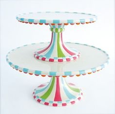 """Set of 2: Glitterville Stacking Birthday Party """"Cupcake Town"""" Pedestal Cake Stands, 8.5 Inch & 11.25 Inch Glitterville http://www.amazon.com/dp/B00CS8RGWW/ref=cm_sw_r_pi_dp_a.lYub0BEJ1ZV"""