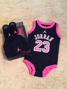 NIKE JORDAN Baby PINK Girl Bodysuit Romper Set Hat Shoes Booties Socks 0-6M