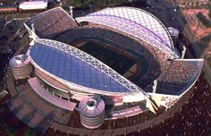 When it was built, Sydney's Stadium Australia (now ANZ Stadium) was the largest Olympic Stadium ever built, with a capacity for It was built with sustainability in mind, with far less steel usage than Athens' Olympic Stadium or Beijing's Bird's Nest. Baseball Park, Soccer Stadium, Football Stadiums, Olympic Venues, Olympic Games, Fifa, Helsinki, Montreal, Stadium Architecture