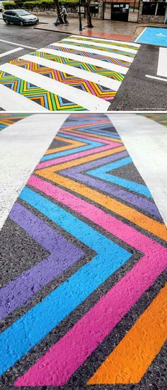 Using a bright range of colours to draw contrast against the dull & dark pavement could be an effective way to create a visual representation of positivity.