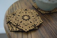 Mandala cork coasters, with intricate patterns and detail. Sold in packs of four. Dimensions - L x W x H Cork Coasters, Graphic Design Projects, Patterns, Detail, Business, Mandalas, Block Prints, Cork Trivet, Pattern