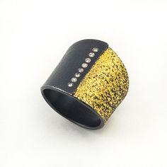Tai Kyun Kim at Patina Gallery. Ring, 24k Gold, Sterling Silver with Diamonds