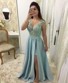 Blue Long Prom Dress Elegant Straps V-Neck High Split Evening Dresses Formal Cheap Party Gowns Party Gowns, Party Dress, Simple Prom Dress, Bridesmaid Dresses, Prom Dresses, Wedding Dresses, Lace Dress, Lace Chiffon, Formal Evening Dresses