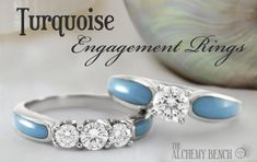 A dazzling selection of diamond and turquoise engagement rings! | The Alchemy Bench #BridalTransformed
