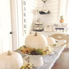 # @kalakleindesigns We've fallen in love with this lovely fall inspired tablescape filled with pumpkins! Cream colored pumpkins offer such a creative and versatile seasonal decor option perfect in any home style, don't you agree? We also love how our Striped Table Runner compliments the shades of white decor on top, and the wood tones of the table beneath. Thanks for sharing your fall views with us!⠀ ⠀ #myafh #antiquefarmhouse #farmhouse #farmhousechic #shabbychic #shabbychicdecor…