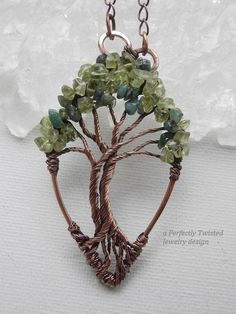 Wire Wrapped Tree of Life Bonsai Pendant, Peridot, Emeralds Handmade Jewelry, Antiqued Copper, Wire Tree Jewelry Perfectly Twisted