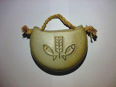 Weihwasserbecken Holy Water Font Keramik Pottery Beige * Motiv: Fische Ähre +++