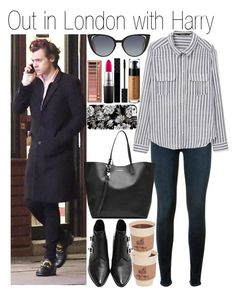 """• Out in London with Harry"" by dianasf ❤ liked on Polyvore featuring Hudson, MANGO, Alexander McQueen, Fendi, MAC Cosmetics, Gucci, Japonesque, Urban Decay and harrystyles"