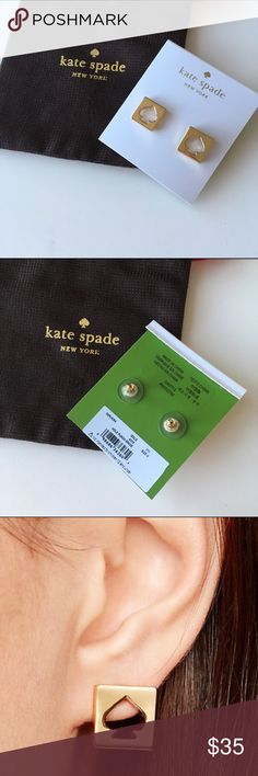 Signature spade earring NWT. Gold earring.  final markdown‼️ $23 on Ⓜ️ercari you pay $4 shipping ☺️ kate spade Jewelry Earrings