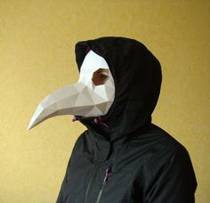 Plague Doctor Mask, Raven mask, Paper Party Mask, Papercraft Halloween mask