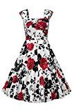Nina Women Sexy 50s Style Swing Vintage Retro Rockabilly Evening Dress Red Flower 2XL   Material:Cotton,Spandex,Color: Red, White, Black, Red , Purple ,Blue Please Check Size Chart in left image before Your purchase it on the Left image.Do not Use AMAZON Size Guide. Style: 50s Look,Audrey...