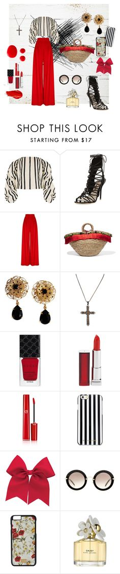 """""""touche de rouge"""" by sophieglam ❤ liked on Polyvore featuring Johanna Ortiz, Sophia Webster, Dolce&Gabbana, Urban Decay, Gucci, Maybelline, Giorgio Armani, MICHAEL Michael Kors, Miu Miu and Marc Jacobs"""