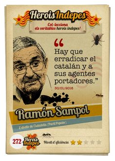 "#HeroisIndepes 272. Ramón Sampol: ""Hay que erradicar el catalán y a sus agentes portadores."" Image Cat, Cats, Trading Cards, Beads, Gatos, Cat, Kitty, Kitty Cats"