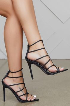 5517839be Friday Caged Heels (Black). Black Strappy High ...