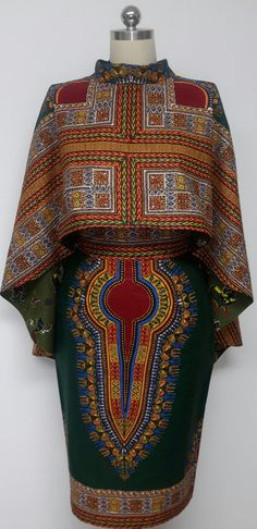 Two-Piece Reversible Versatile Hi-Lo Cape and Pencil Skirt. African Print… - Fashion New Trends African Inspired Fashion, African Print Fashion, Africa Fashion, Ethnic Fashion, Look Fashion, Fashion Prints, Fashion Design, Fashion Outfits, African Attire