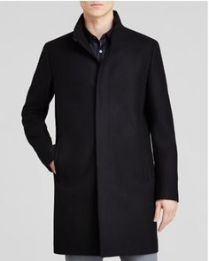 "Men's Black THEORY ""Belvin"" Cashmere Wool Top Coat #giftforyourguy  