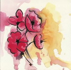 8x8 Poppies Watercolor Art Print by AmyDixonArt on Etsy, $20.00