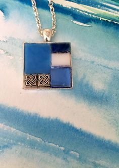 Mosaic stained glass pendant necklace sky by MosaicPendantsPlus