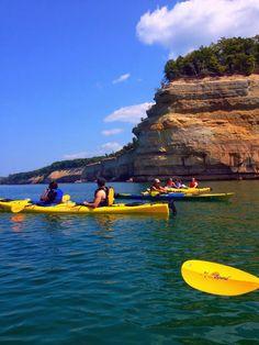 Kayaking past picture rocks, Munising Michigan