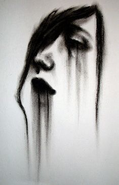 Smudginess of charcoal near-perfectly captures the fading, washed out mascara. Additionally, the simple addition of lines help give form to the face of a woman using positive/negative space.                                                                                                                                                                                 More