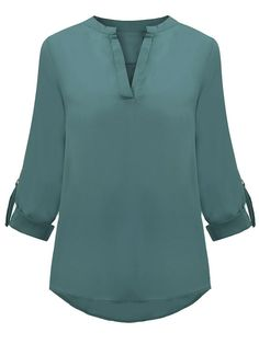 Chiffon Solid Long Sleeve V-Neck Loose Casual Blouse For Women Style: CasualMaterial: ChiffonNeckline: V-NeckSleeve Length: LongPattern Type: Solid Lieferinhalt: 1 * Bluse Kurti Neck Designs, Blouse Designs, Chiffon Shirt, Chiffon Tops, Red Chiffon, Blouse Styles, Shirt Blouses, Blouses For Women, Shorts