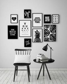 Super Wall Art DIY In Black And White For Gallery Wall. If you are planning to transform a blank wall, the time to curate your space is now. There are a number of options for you to choose from, you can always find your favorite wall art ideas to spark yo Black Decor, White Decor, Diy Wall Art, Wall Art Decor, Office Wall Decor, Diy Art, Black And White Wall Art, Black White, Black Frames On Wall