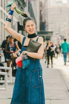 Irene Kim at New York Fashion Week  Push Button Top + Chanel Denim Dress + Vintage Hollywood Sweatband & bracelets + John & Anes clutch