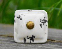 Square knob/white knob/ceramic knob/cabinet knob/antique knob/vintage knob/shabby chic/chippy chic/unique/decorative/cream knob/drawer pull
