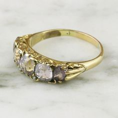 Victorian Pink Topaz and Diamond 5 Stone Ring / 18k Yellow Gold / Scrolled Gallery