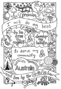 UK Brownie Promise colouring sheet. Created by @emyb Emy