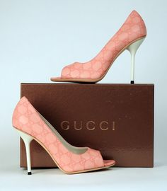 $695 GG GUCCI LOGO PUMPS SHOES HEELS ROSE LEATHER HIGH HEEL OPEN TOE sz 40 / 10