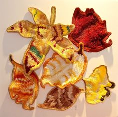 Autumn Leaves, hand-embroidered work