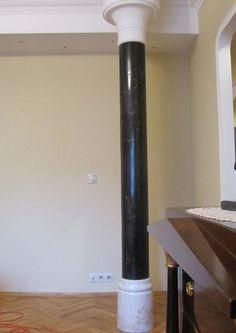 Kolumna z czarnego stiuku polerowanego - scagliola