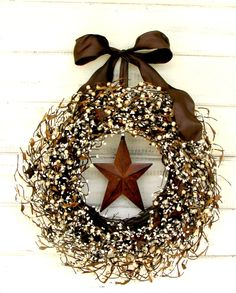 Fall Wreath-Rustic Wreath-Primitive Berry Wreath-Winter Wreath-RUSTIC STAR Wreath-Rustic Home Decor-Primitive Country-Autumn Door Decor by WildRidgeDesign on Etsy https://www.etsy.com/listing/150732859/fall-wreath-rustic-wreath-primitive