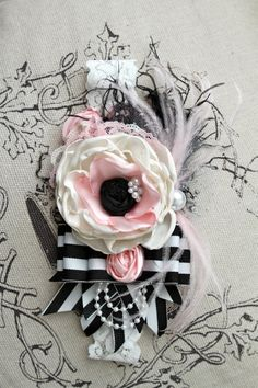 Anemone Inspired Shabby chic black white and pink by londonraquel, $30.99