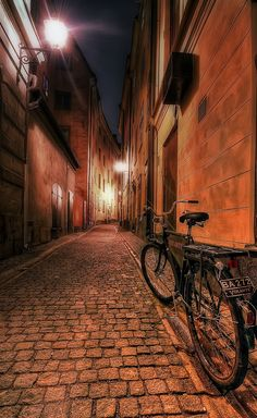 Bike in the street in Stockholm.