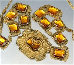 Art Deco Necklace Dragon Amber Glass Hammered Brass by boylerpf, $175.00    Wow...just an amazing piece!!