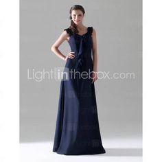 Sheath/ Column Square Floor-length Chiffon Bridesmaid/ Wedding Party Dress