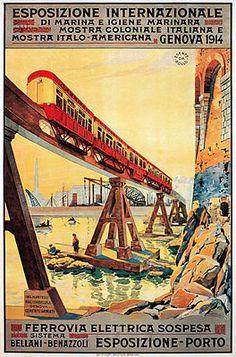 Vintage Italy Italian Suspended Railway Travel Poster Re-Print Vintage Prints, Vintage Art, Italy Train, Trains, Old Advertisements, Advertising, Railway Posters, Vintage Italy, Vintage Graphic Design