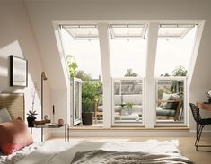 Read More This VELUX roof terrace window system opens to the left-hand side with a two-window triple glazed configuration. The wide x high VELUX roof terrace is designed to allow… Loft Room, Bedroom Loft, Roof Balcony, Loft Conversion Bedroom, Terrasse Design, Balcony Flooring, Attic Bedrooms, Roof Window, Roof Design
