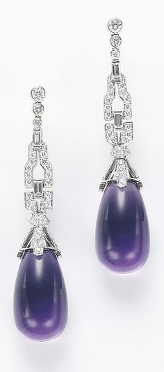 MICHELE DELLA VALLE A Paif of Amethyst and Diamond Ear Pendants  Each suspending a drop shaped amethyst, from a pavé-set diamond cap, to the circular and baguette-cut diamond surmount geometric surmount, mounted in 18K white gold, length 2 inches.