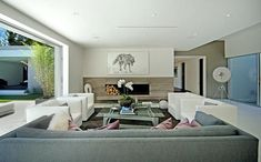 Modern Architecture and Living Room wall fireplace